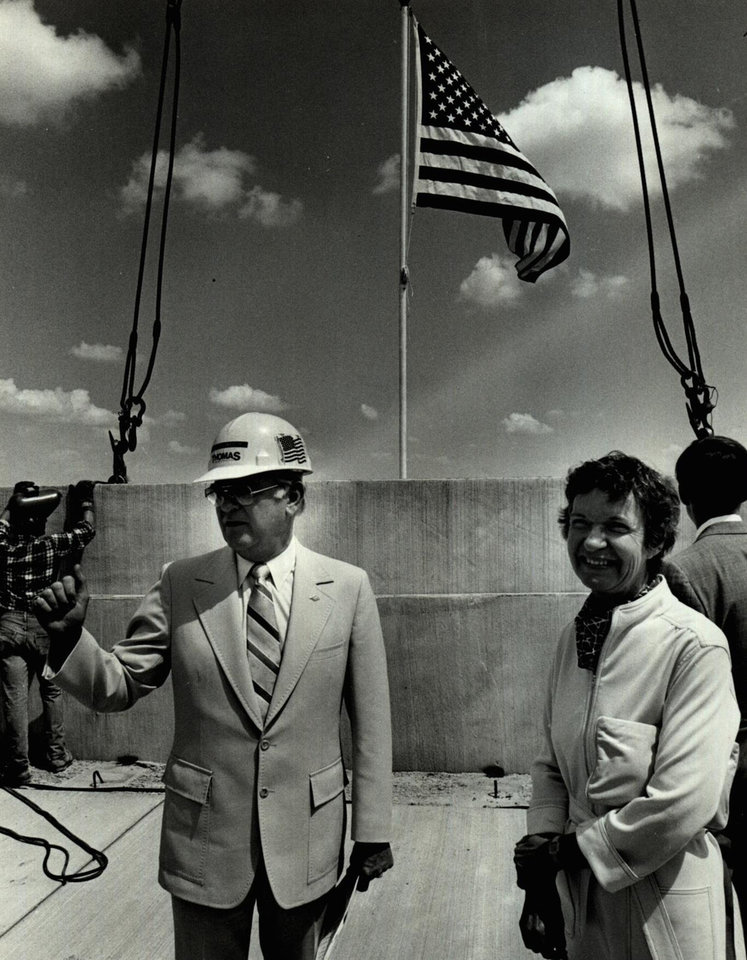Photo - July 10, 1981: Several dignitaries including Oklahoma City Mayor Patience Latting, right, were on hand for the topping-out ceremony for the new multi-level parking garage at Will Rogers World Airport. [Photo by Roger Klock, The Oklahoman Archives]