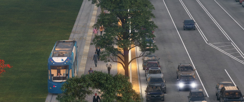 Photo -  A close-up of the rendering released last week for the Oklahoma City Boulevard shows a dedicated bike lane has been removed from the project and bicyclists will share a wide