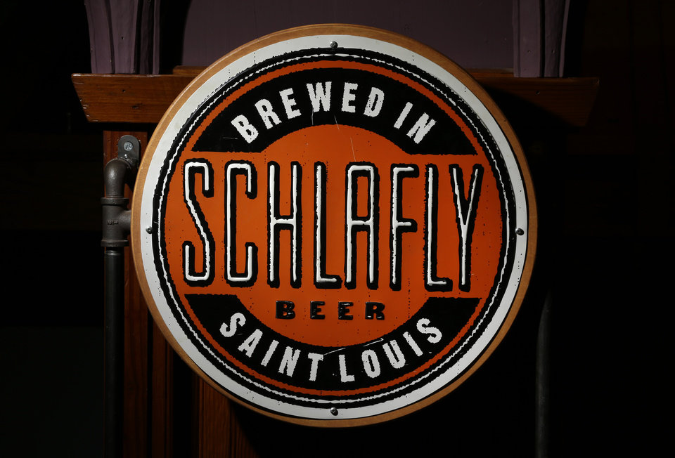 Photo - The logo seen on many bottles off beer produced by the brewery co-founded by Tom Schlafly is seen inside Schlafly Bottleworks on Wednesday, March 12, 2014, in Maplewood, Mo. Schlafly has been in a trademark dispute with his aunt, conservative activist Phyllis Schlafly, over whether Schlafly is primarily a last name or a commercial brand that deserves legal protection. (AP Photo/Jeff Roberson)