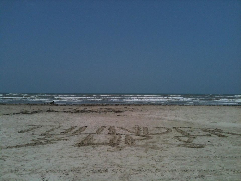 Thundering up on the beach in Port Aransas, Texas