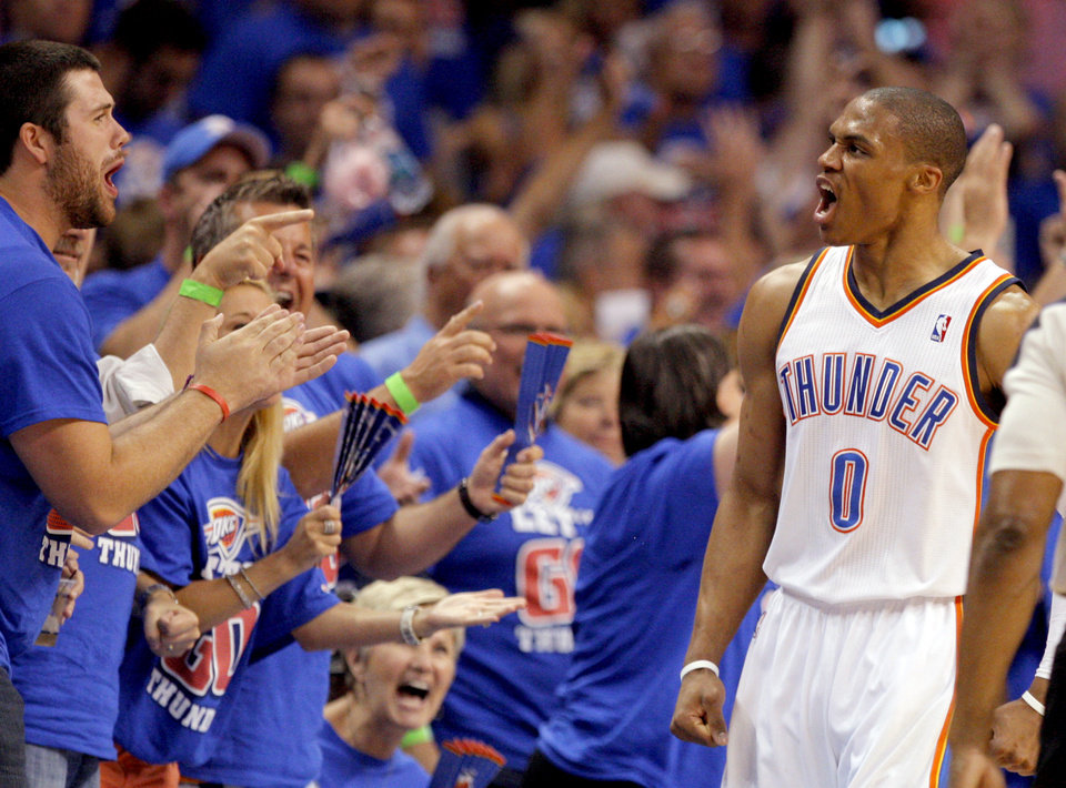 Oklahoma City\'s Russell Westbrook (0) celebrates with fans during Game 5 in the second round of the NBA playoffs between the Oklahoma City Thunder and the L.A. Lakers at Chesapeake Energy Arena in Oklahoma City, Monday, May 21, 2012. Photo by Sarah Phipps, The Oklahoman
