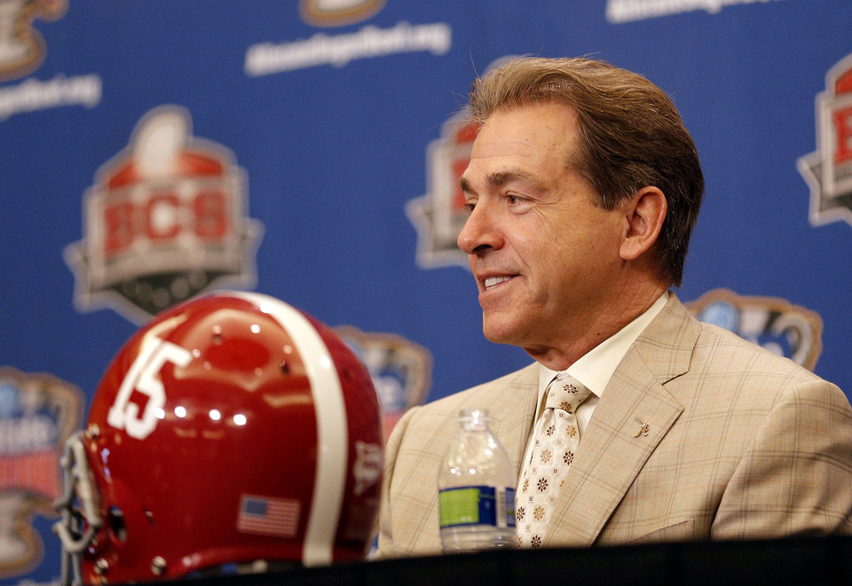 Photo - Alabama head coach Nick Saban speaks during a press conference for the Allstate Sugar Bowl, Wednesday, Jan. 1, 2014 in New Orleans. Photo by Sarah Phipps, The Oklahoman
