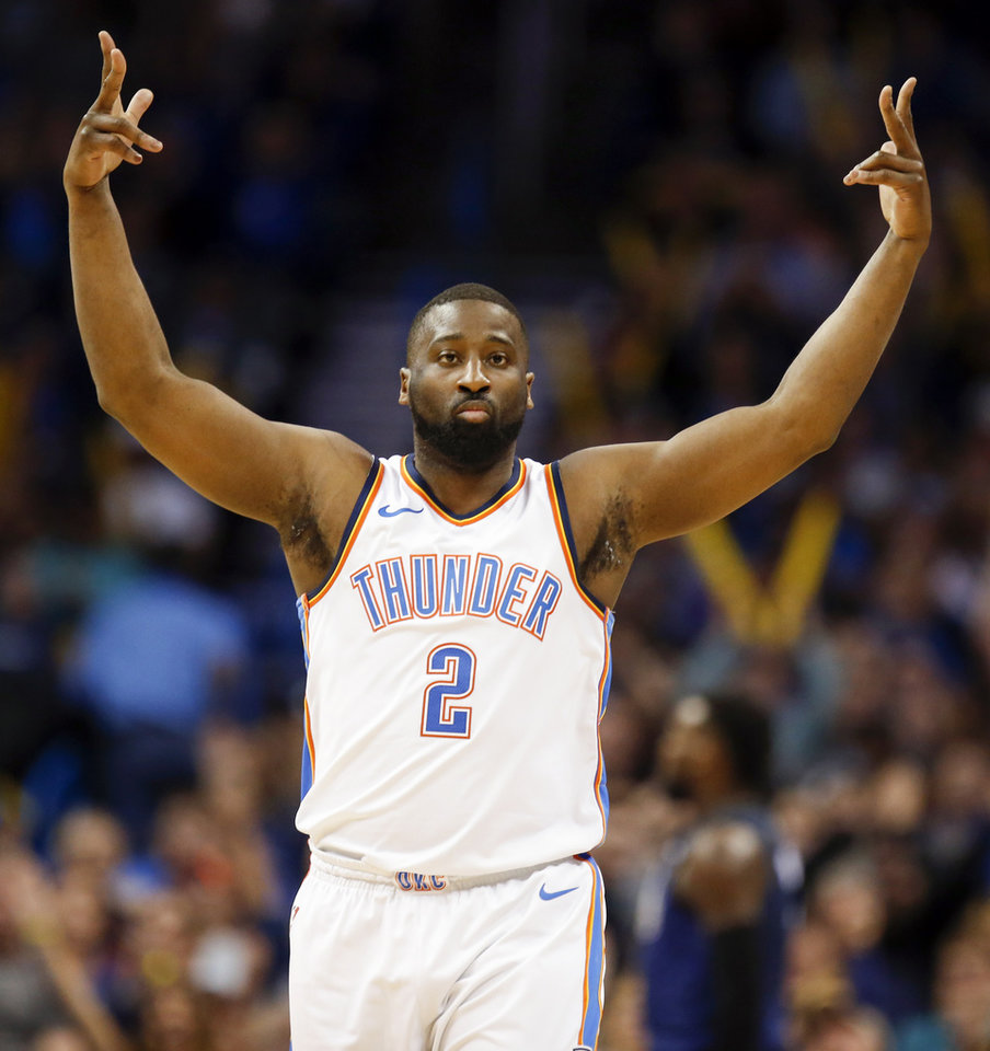 Photo -  Oklahoma City's Raymond Felton reacts after making a three-point shot during Monday's game against the Orlando Magic at Chesapeake Energy Arena. Oklahoma City won 112-105. [Photo by Nate Billings, The Oklahoman]