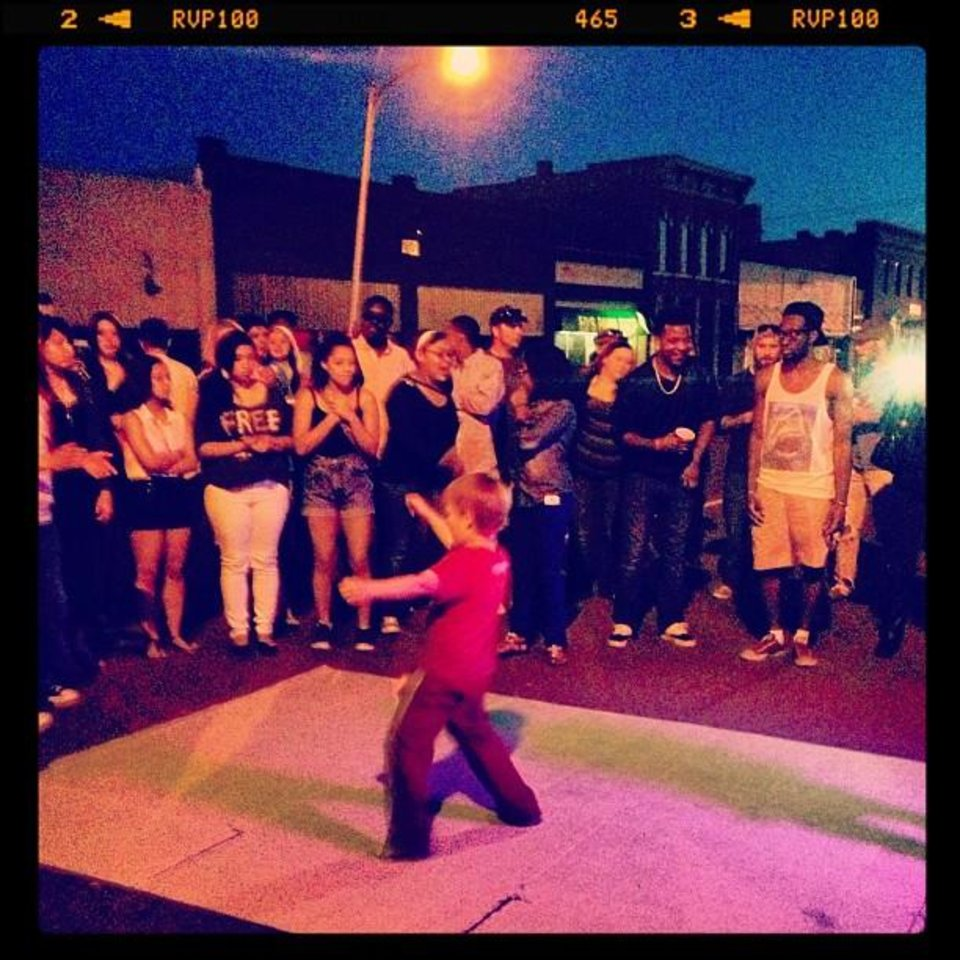 This little man was serving up some break dancing realness at Red Bull's mobile DJ Station at #NormanMusicFest #NMF Also props to the AMAZING DJ who spun records around the 7:30-9pm time; he was awesome and very talented. Really got the crowd into it! (From Statigram.com)