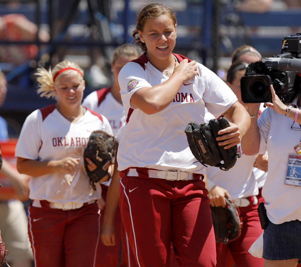 Oklahoma's Keilani Ricketts walks off the field after OU's win over South Florida in a Women's College World Series game at ASA Hall of Fame Stadium in Oklahoma City, Thursday, May 31, 2012.  Photo by Bryan Terry, The Oklahoman