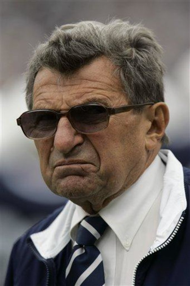 Penn State Coach Joe Paterno looks out as he walks the field during warm-ups before their football game against Buffalo Saturday,  Sept. 15, 2007, in State College, Pa. Three nonconference games, three big wins. Now things start to get interesting for Penn State. Big Ten season is here and the Nittany Lions' first conference game is a  big one, Michigan at the Big House. (AP Photo/Carolyn Kaster)