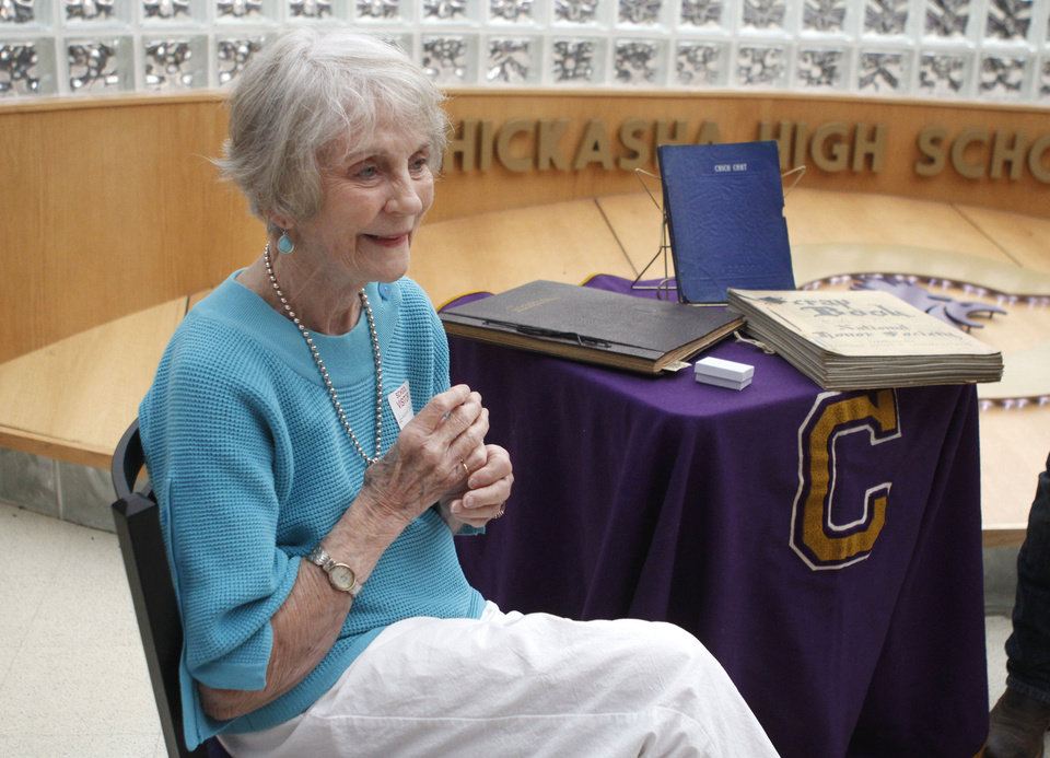 Photo - Lodema Clement, 85, who lost her Chickasha High School class ring in 1948, was reunited with the ring Monday at Chickasha High School. PHOTO BY PAUL HELLSTERN, THE OKLAHOMAN  PAUL HELLSTERN - Oklahoman