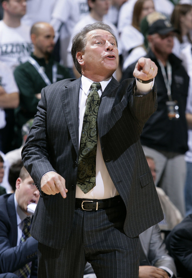 Michigan State coach Tom Izzo yells to his team during the first half of an NCAA college basketball game against Texas, Saturday, Dec. 22, 2012, in East Lansing, Mich. Michigan State won 67-56. (AP Photo/Al Goldis)