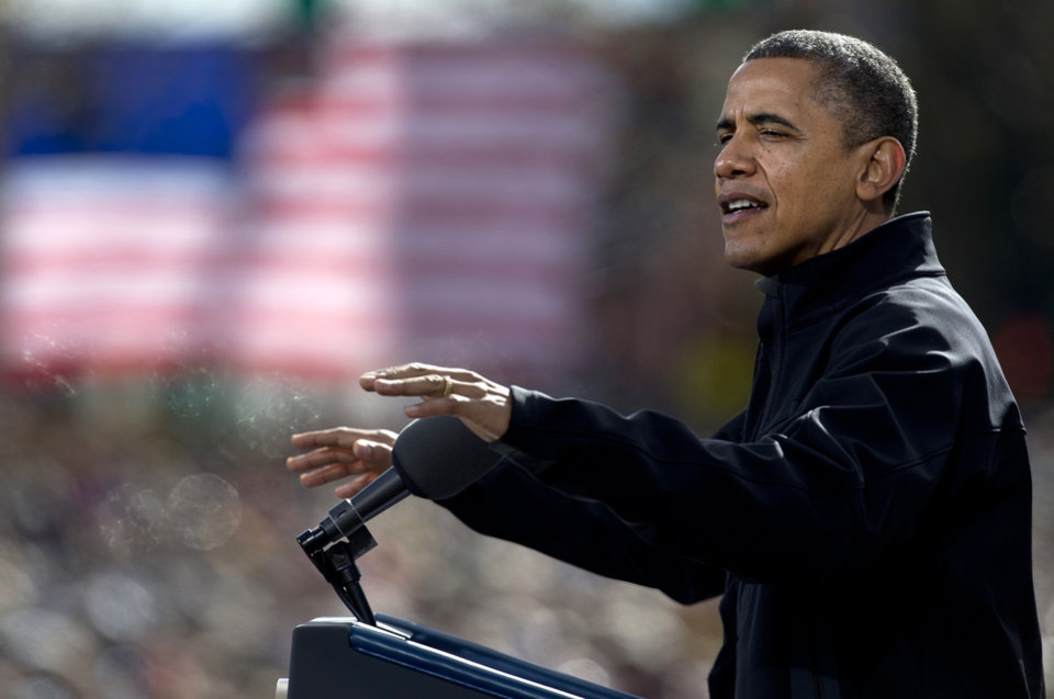 President Barack Obama speaks at a campaign event in the State Capitol Square, Sunday, Nov. 4, 2012, in Concord, N.H. (AP Photo/Carolyn Kaster)