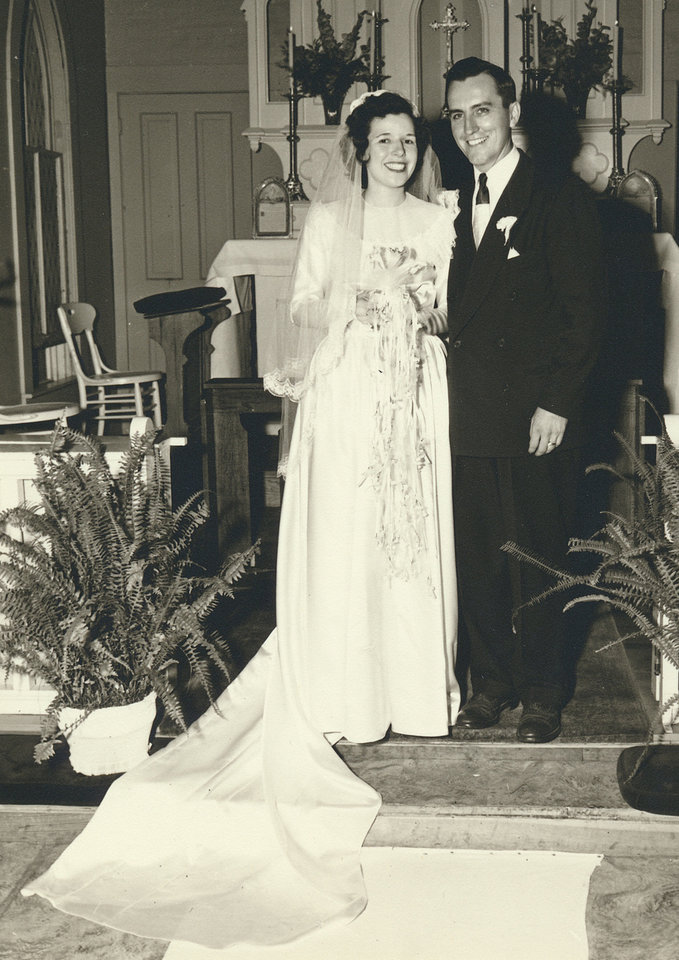 Photo - Ruth Alice Eager standing next to her husband, John Cullen Moran, in the church they were married on June 18, 1949. Photo provided by Susan Crowder.