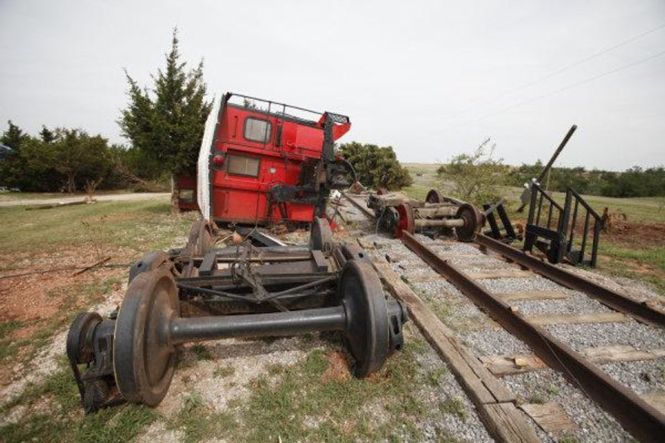 Debbie Morris\' Red Rooster Guest Caboose and Inn sustained major damage from the May 24th tornado in Canadian County, Oklahoma , Thursday, June 2, 2011. Photo by Steve Gooch ORG XMIT: KOD