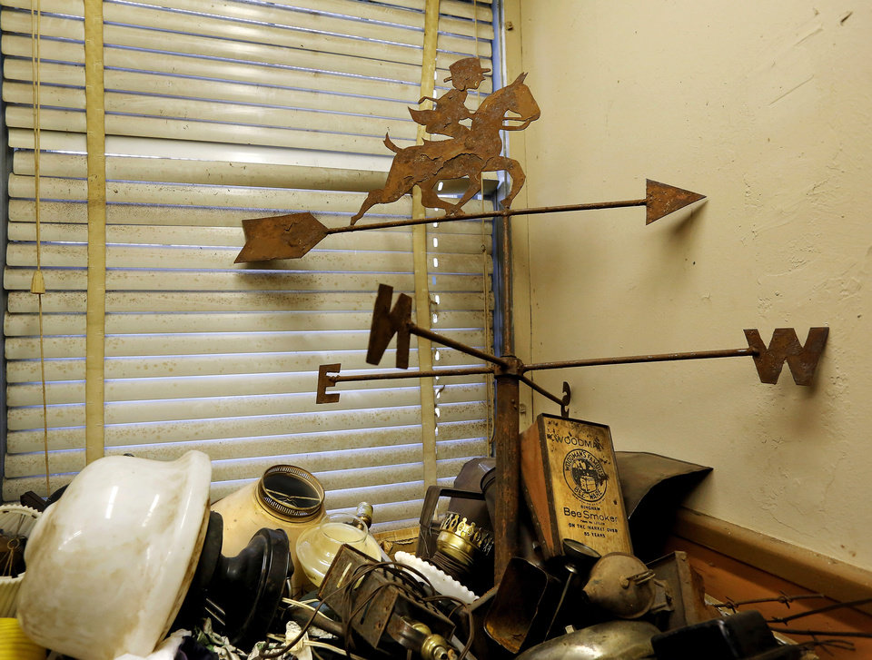 Photo -  Items inside Bert and Max Hester's parents' antique store May 28 in Choctaw. Photo by Jim Beckel, The Oklahoman   Jim Beckel -