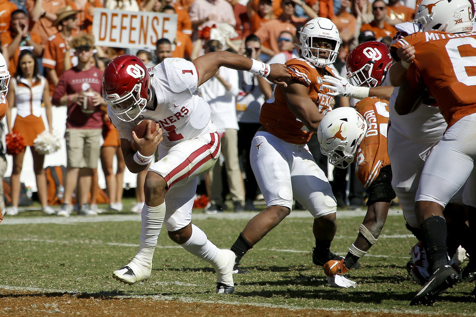 Record - Oklahoma's Jalen Hurts (1) runs a touchdown at some point soon of the Crimson River Showdown college football sport between the University of Oklahoma Sooners (OU) and the Texas Longhorns (UT) at Cotton Bowl Stadium in Dallas, Saturday, Oct. 12, 2019. Oklahoma gained 34-27. [Bryan Terry/The Oklahoman]