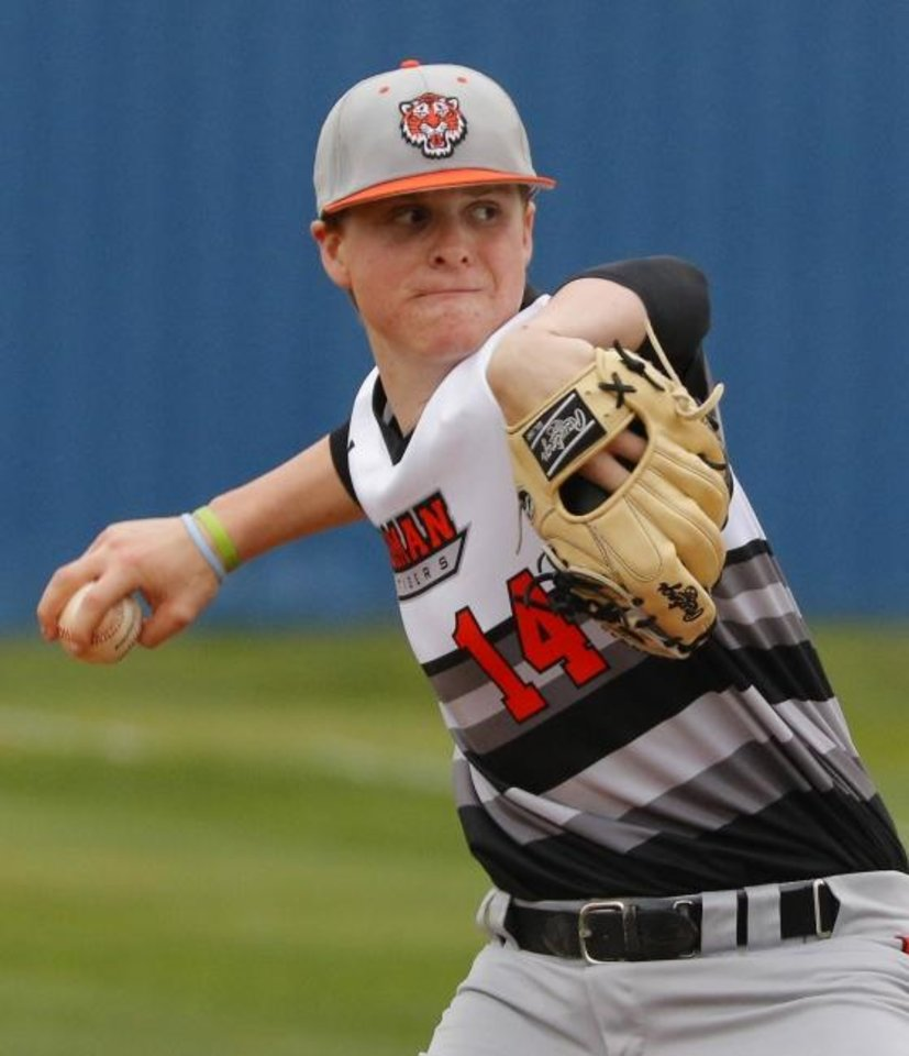 Photo -  Norman's Cade Horton is rated as the 40th best baseball draft prospect for next year by MLBprospect.com. [Doug Hoke/The Oklahoman]