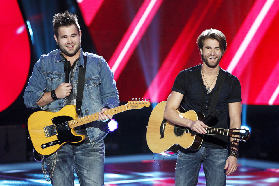 Photo - From left, Zach and Colton Swon are shown during the blind auditions on