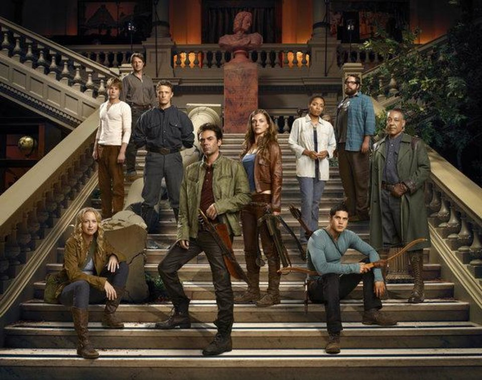 REVOLUTION -- Season: Pilot -- Pictured: (l-r) Anna Lise Phillips as Maggie, Graham Rogers as Danny, Tim Guiee as Ben, David Lyons as Bass Monroe, Billy Burke as Miles, Tracy Spiridakos as Charlie, Maria Howell as Grace, JD Pardo as Nate, Zak Orth as Aaron, Giancarlo Esposito as Lt. Neville  -- (Photo by: Nino Munoz/NBC)