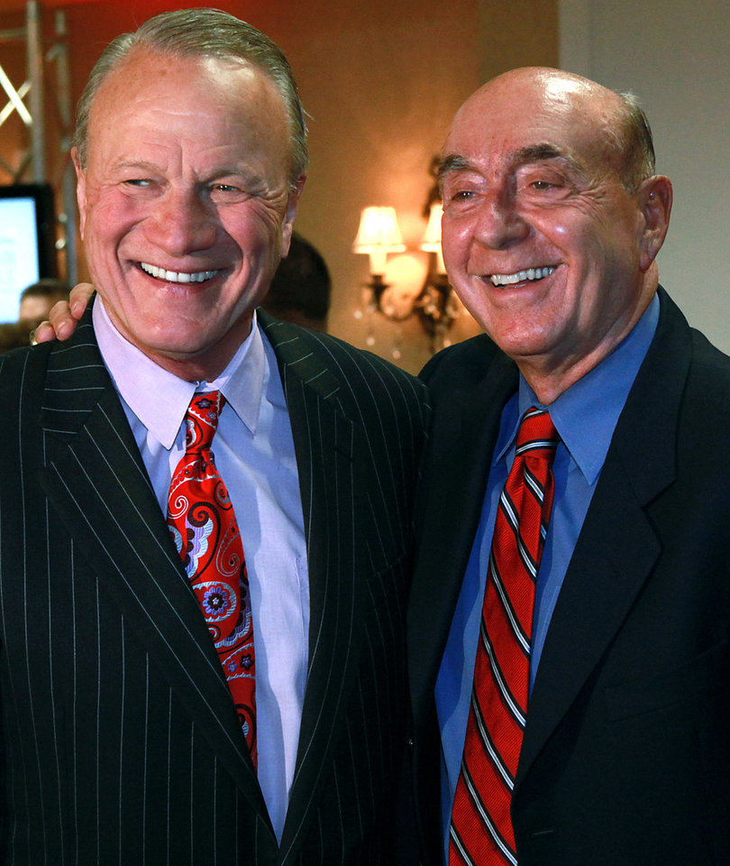 Dick Vitale and Barry Switzer pose during a reception before the Wayman Tisdale Freshman of the Year Award Banquet at the Skirvin Hilton Hotel in Oklahoma City on Monday, April 11, 2011. Photo by John Clanton, The Oklahoman ORG XMIT: KOD