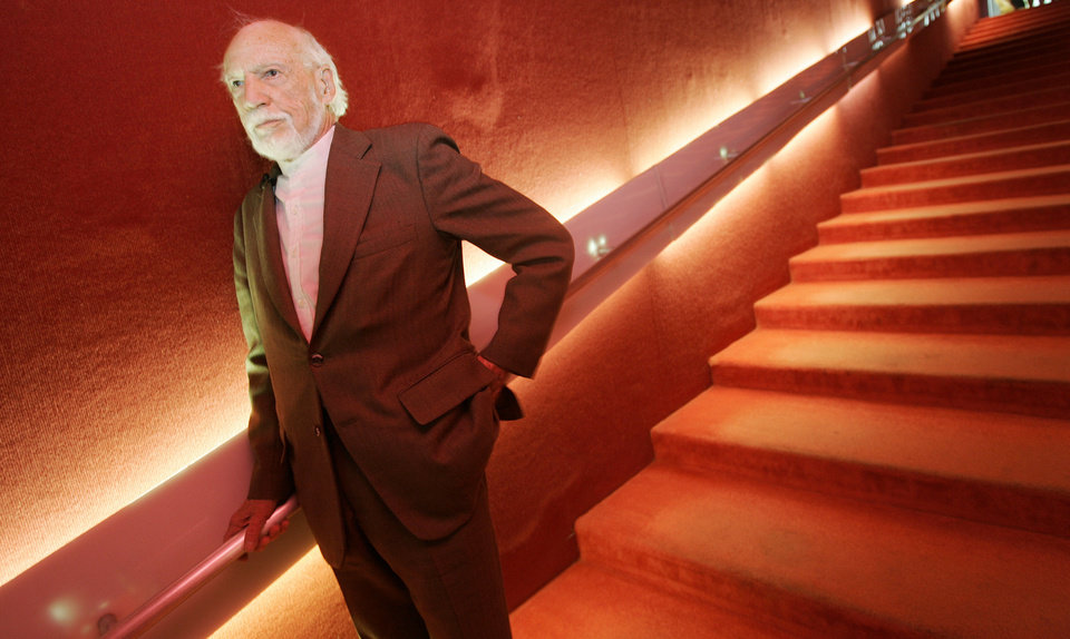 Photo - Architect John M. Johansen visited Stage Center in April, 2008 and spoke with architectural students about what he considered among his best work. He is shown in the stairway that led one the theater's auditoriums. Johansen died in 2012. Oklahoman Archive Photo  JACONNA AGUIRRE