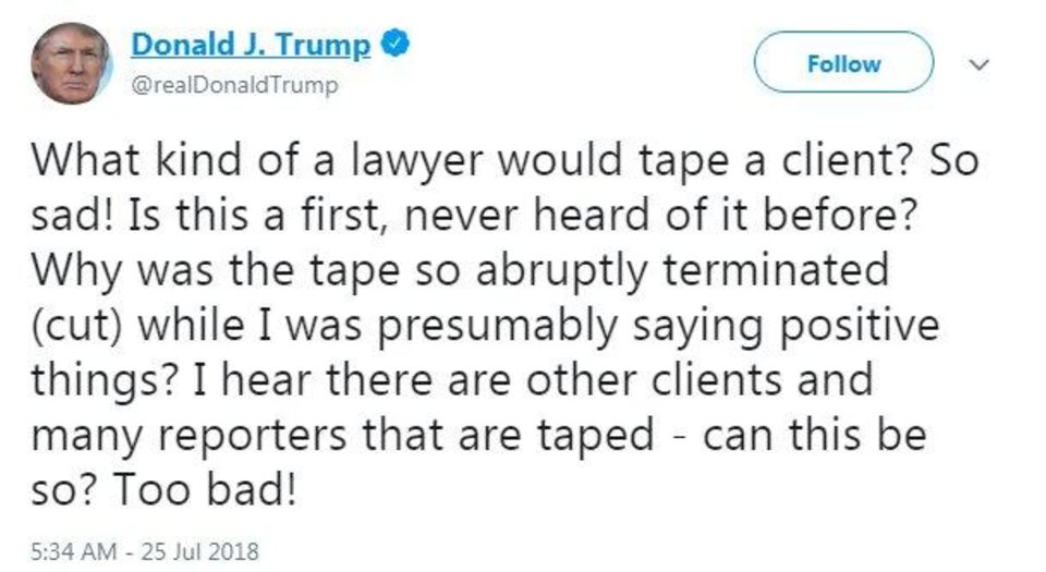Photo - President Donald Trump blasted his former attorney Michael Cohen on Wednesday, the morning after CNN aired the audio of a recording Cohen made of the two.