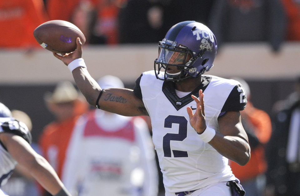 Photo -   TCU quarterback Trevone Boykin passes the ball during the first half of an NCAA college football game against Oklahoma State in Stillwater, Okla., Saturday, Oct. 27, 2012.(AP Photo/Brody Schmidt)