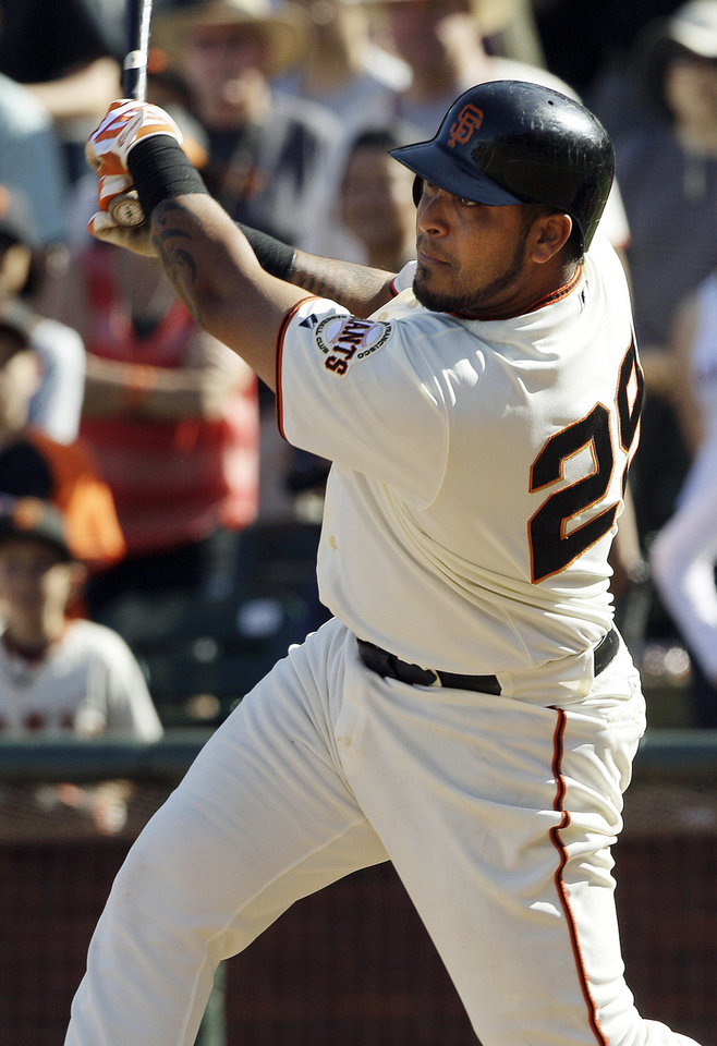 Photo -   San Francisco Giants' Hector Sanchez hits a run-scoring base hit off of Milwaukee Brewers pitcher Tim Dillard during the 11th inning of a baseball game in San Francisco, Sunday, May 6, 2012. The Giants won 4-3 in 11 innings. (AP Photo/Jeff Chiu)