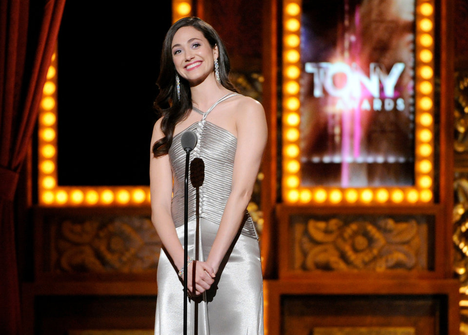 Photo - Emmy Rossum spekas onstage at the 68th annual Tony Awards at Radio City Music Hall on Sunday, June 8, 2014, in New York. (Photo by Evan Agostini/Invision/AP)