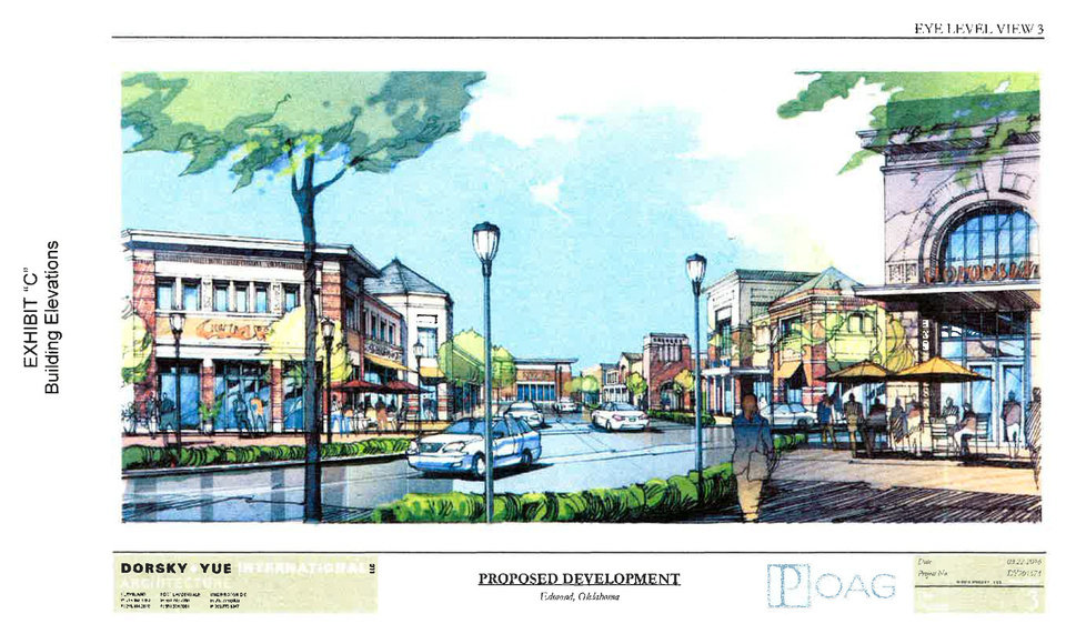 Photo - An artist's drawing shows an upscale lifestyle center proposed to be built north of Spring Creek Plaza, 15th Street and Bryant Avenue. A contract is pending on the sale of Spring Creek Plaza which would be part of the proposed lifestyle center. [DRAWING PROVIDED] |