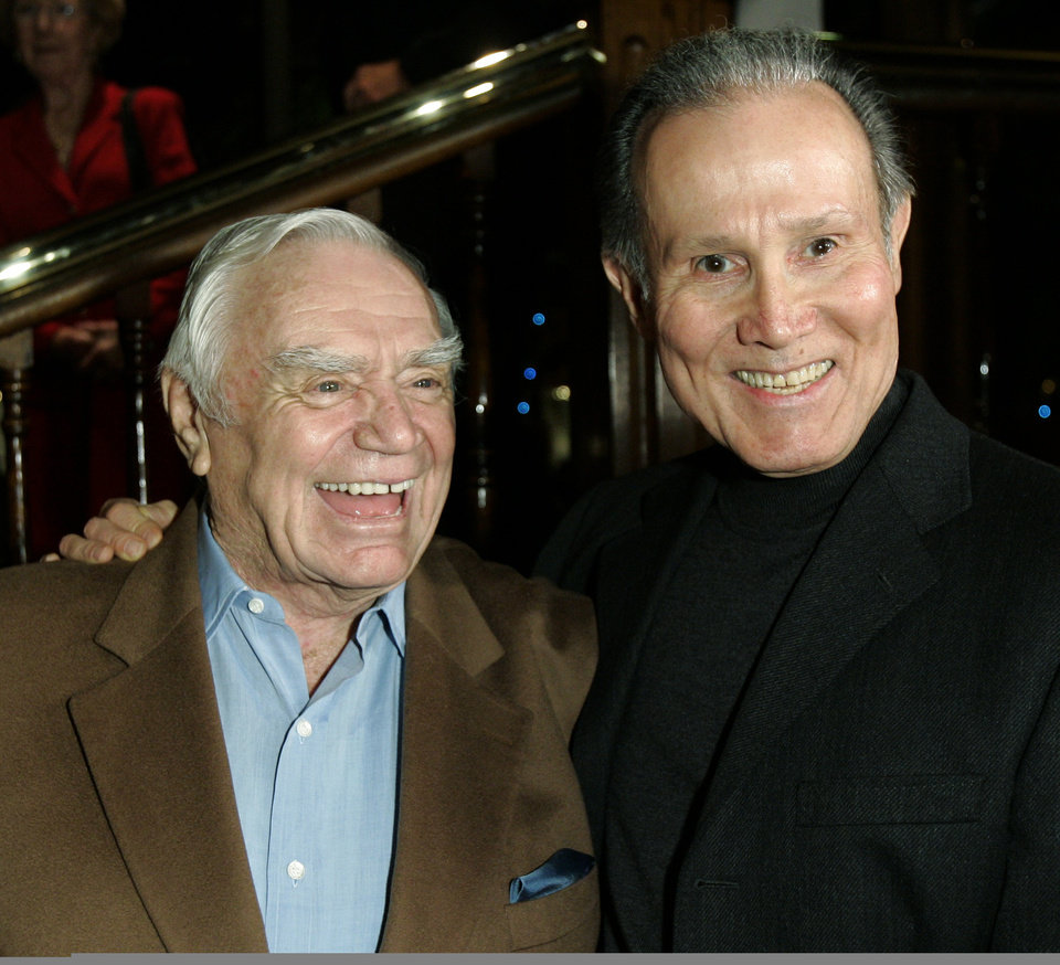 Photo - Actor Ernest Borgnine, left, is joined by actor Henry Silva during Borgnine's 90th birthday party at a restaurant in Los Angeles, Wednesday, Jan. 24, 2007. (AP Photo/Kevork Djansezian) ORG XMIT: KSD108