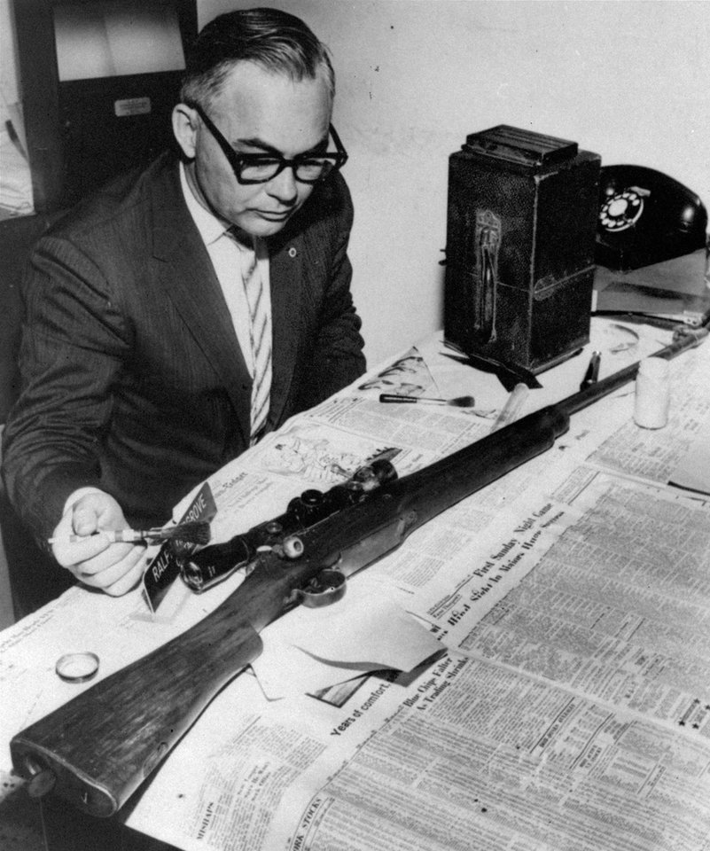 FILE - In this June 12, 1963 file photo, Jackson Police Capt. Ralph Hargrove, chief of the Identification Bureau, poses with .30 caliber rifle which police say was used to kill Medgar Evers. Evers was field secretary for the NAACP and was shot at his Jackson, Miss. home. The weapon was found in some weeds nearby. (AP Photo/File)