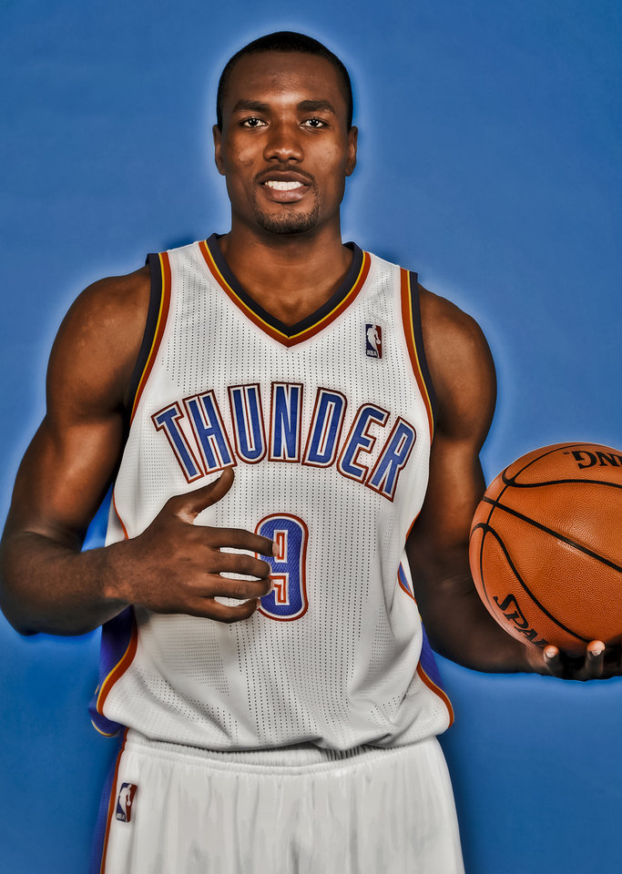 Photo - Serge Ibaka during the Oklahoma City Thunder media day at the Chesapeake Energy Arena in Oklahoma City, Okla. on Tuesday, Dec. 13, 2011. Photo by Chris Landsberger, The Oklahoman