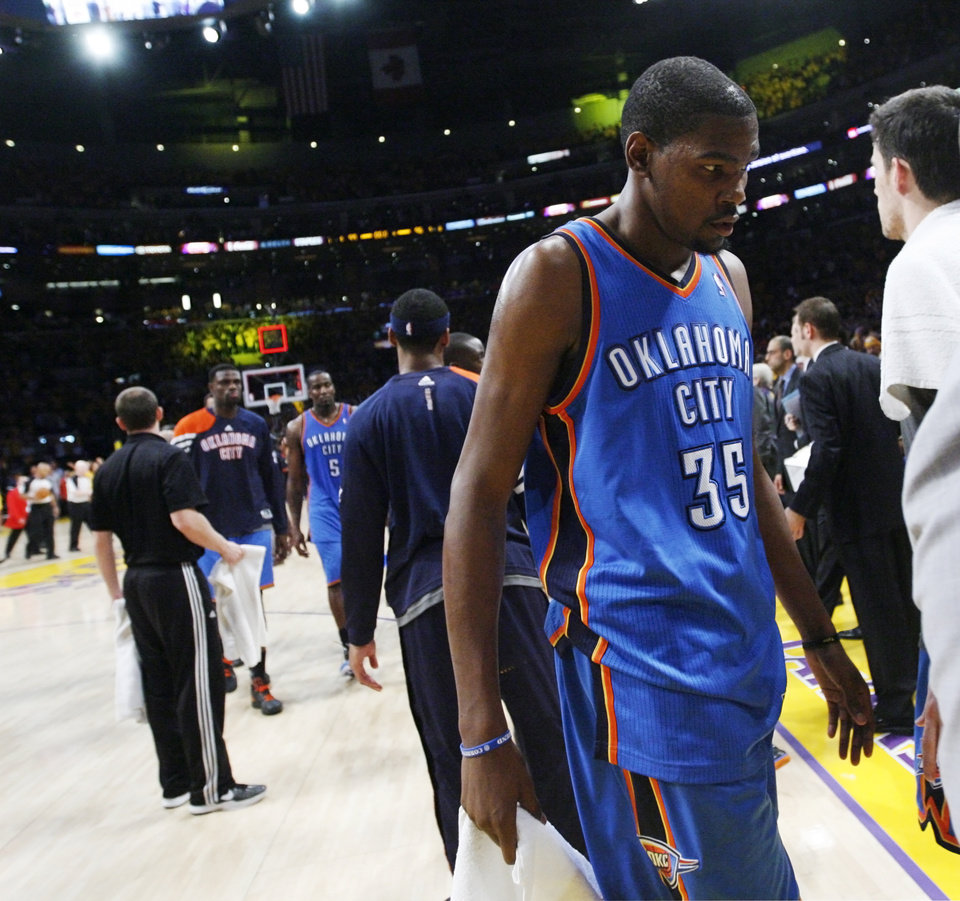 Oklahoma City's Kevin Durant (35) leaves the court after Game 3 in the second round of the NBA basketball playoffs between the L.A. Lakers and the Oklahoma City Thunder at the Staples Center in Los Angeles, Friday, May 18, 2012. Photo by Nate Billings, The Oklahoman