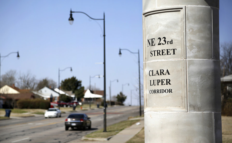 Photo - This section of NE 23 in Oklahoma City, looking west from Interstate 35, is named for longtime educator and civil rights activist Clara Luper.    Photo by Jim Beckel, The Oklahoman  Jim Beckel - THE OKLAHOMAN