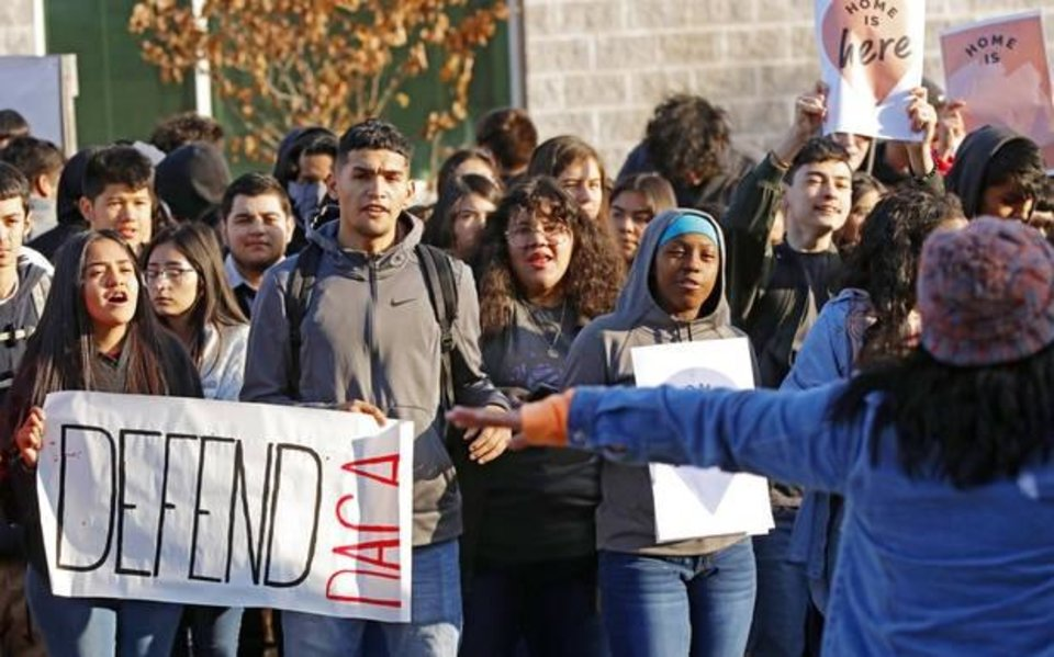 Photo -  Students at U.S. Grant High School rally in support of DACA on Nov. 8. [Photo by Doug Hoke/The Oklahoman]