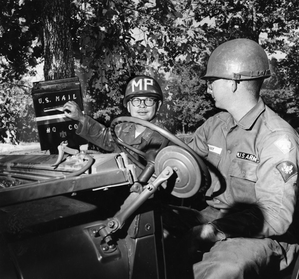 Photo - Thunderbird mail goes through, even if the 45th Infantry Division is miles out in the rugged region surrounding Fort Chaffee, Ark.  Maj. Walter