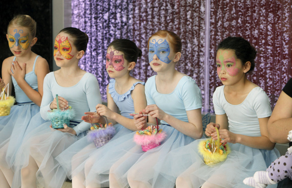 Ballerinas rest after dancing at the opening ceremony of the Children's Atrium at OU Children's Physicians and Children's Hospital in Oklahoma City, OK, Tuesday, March 22, 2011. By Paul Hellstern, The Oklahoman