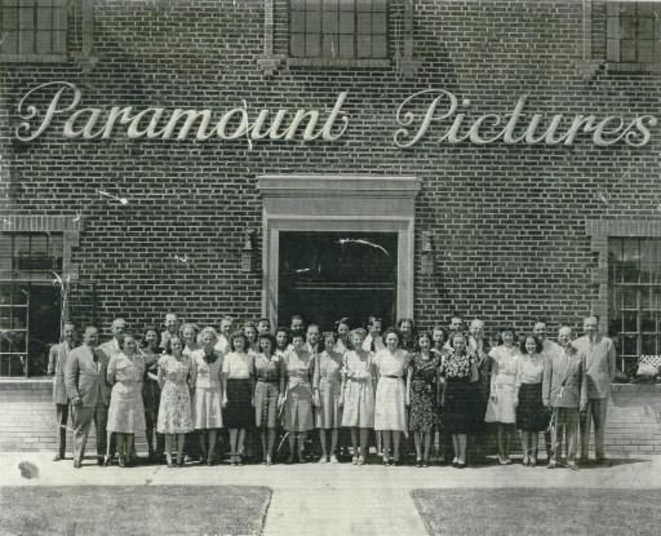 The Paramount staff, circa 1930s, Oklahoma City\'s Film Row. The building still stands with some incredible architecture inside.
