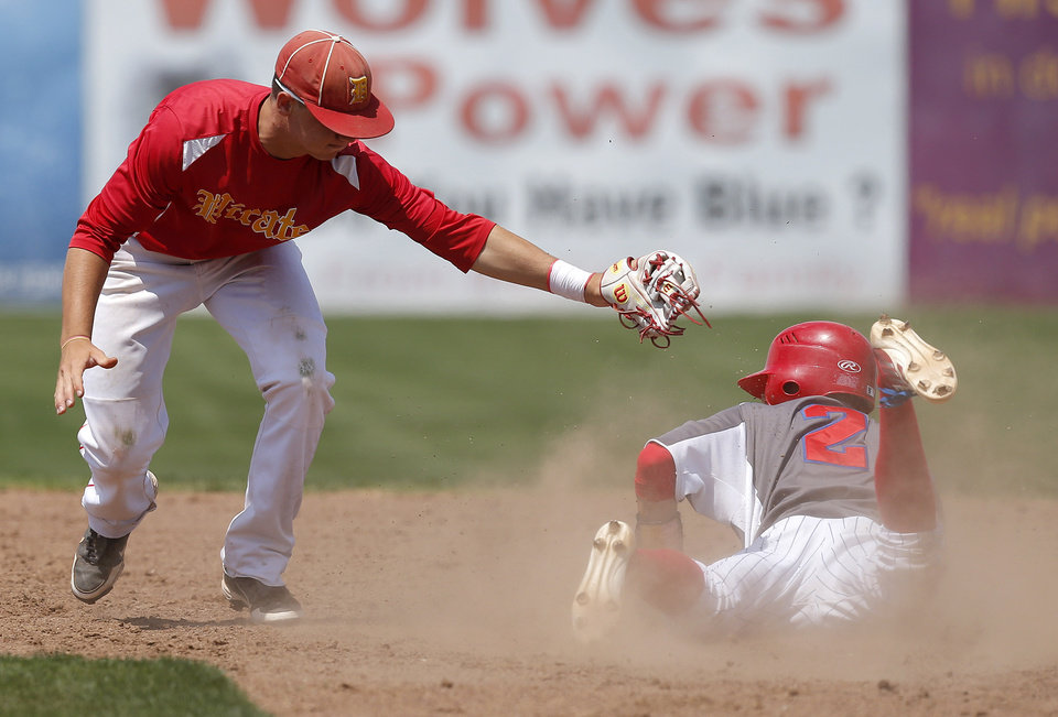 Silo's Andrew Bolin makes it to second base past Dale's Taylor Smith in the sixth inning during the Class 2A state baseball tournament championship game in Shawnee, Okla., Saturday, May 11, 2013. Photo by Bryan Terry, The Oklahoman
