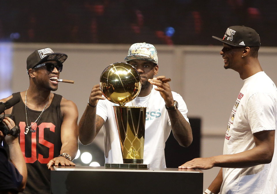 The Heat remain on top but there\'s plenty of challengers coming for their trophy. (AP Photo/Wilfredo Lee)