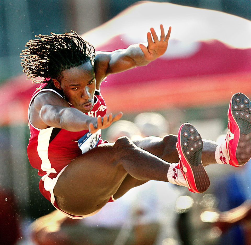 Will Claye competes in the triple jump at the NCAA Regional track meet at John Jacobs Track and Field Complex at the University of Oklahoma in Norman, Okla. on Saturday, May 30, 2009.    Photo by Steve Sisney, The Oklahoman