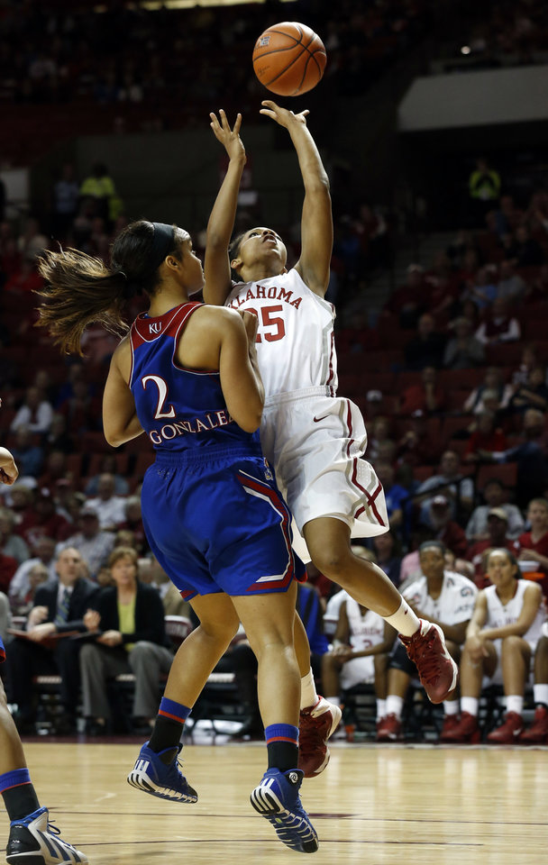 Photo - Oklahoma Sooner's Gioya Carter (25) scores and is fouled with seconds left in the second half as the University of Oklahoma Sooners (OU) defeat the Kansas Jayhawks 64-61 in NCAA, women's college basketball at The Lloyd Noble Center on Saturday, Feb. 22, 2014  in Norman, Okla. Photo by Steve Sisney, The Oklahoman