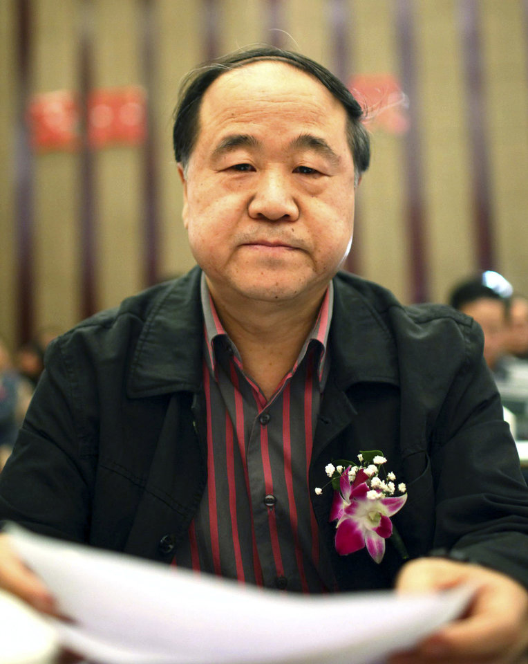 In this photo taken Sunday, March 25, 2012, Chinese writer Mo Yan attends a novel writing competitions as a judge, in Haikou in south China's Hainan province. Mo has won the Nobel Prize in literature on Thursday, Oct 11, 2012. (AP Photo) CHINA OUT