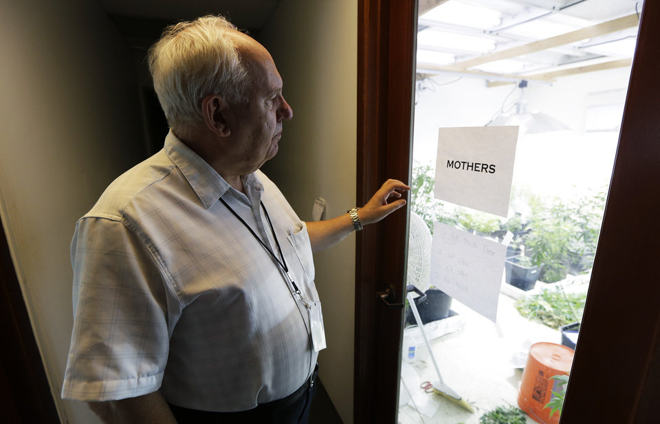 Photo - In this June 25, 2014 photo, Bob Leeds, who retired from banking and social-services work to become a partner at Sea of Green Farms, a licensed pot-grower in Seattle, stands outside the room where plants used to clone smaller plants are kept. Sea of Green is licensed to grow some of the first pot that will be legally sold for recreational use in Washington state starting in July. (AP Photo/Ted S. Warren)