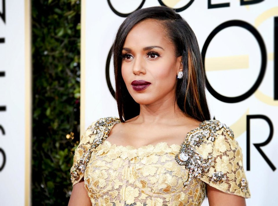 Photo - Kerry Washington in Neutrogena Moisture Smooth Color Stick in Deep Plum and Dolce & Gabanna Beauty Classic Cream Lipstick in Glam 335. [Photo Provided]