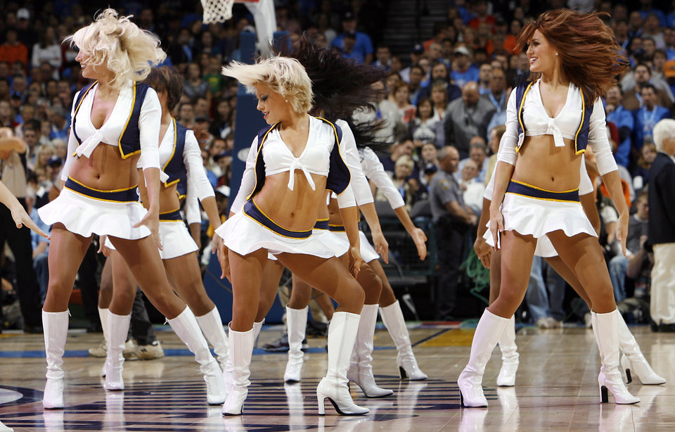 Thunder dancers perform during the NBA basketball game between the Oklahoma City Thunder and the Milwaukee Bucks at the Ford Center in Oklahoma City, Wednesday, Oct. 29, 2008. This was the regular season debut of the Thunder. BY NATE BILLINGS, THE OKLAHOMAN