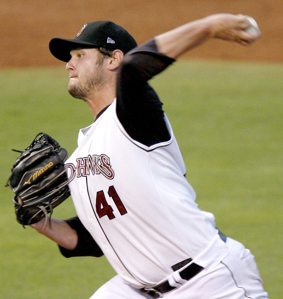 Michael Ballard, with the Oklahoma RedHawks, pitches during the RedHawks minor league baseball game against Omaha at the AT&T Bricktown Ballpark in Oklahoma City, Saturday, August 16, 2008. BY BRYAN TERRY, THE OKLAHOMAN
