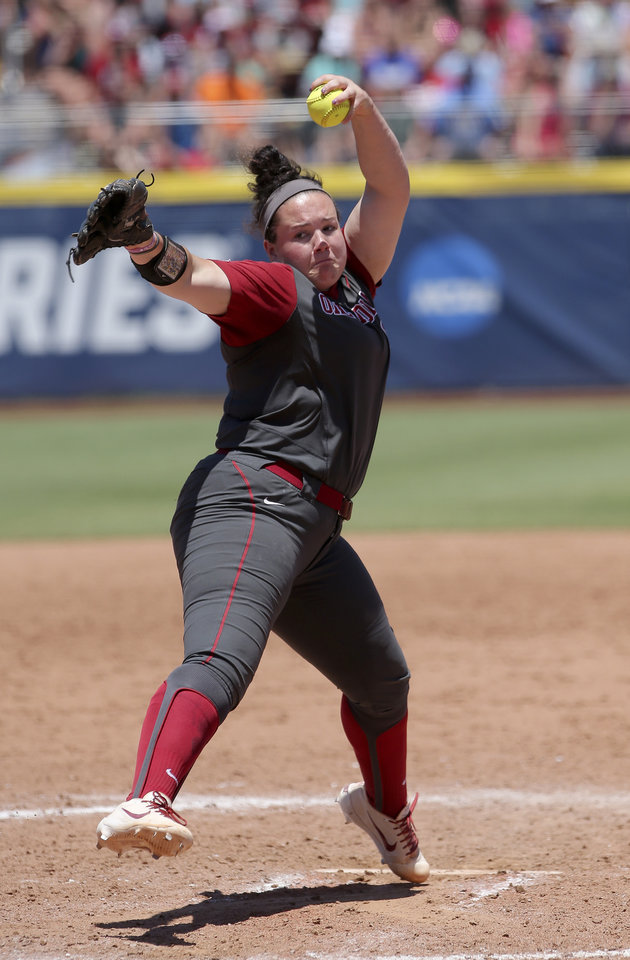 Photo - Oklahoma's Paige Parker (8) throws a pitch during a Women's College World Series game between the University of Oklahoma (OU) and Washington at USA Softball Hall of Fame Stadium in Oklahoma City,  Sunday, June 3, 2018.  Washington won 3-0. Photo by Sarah Phipps, The Oklahoman