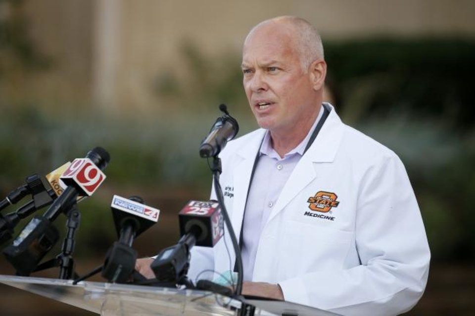 Photo -  Oklahoma Health Commissioner Lance Frye speaks during a news conference on Oct. 20. [Bryan Terry/The Oklahoman]