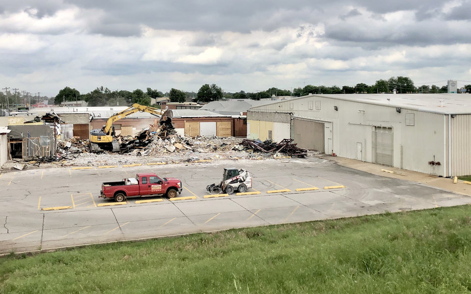Photo -  A wrecking crew demolishes a 16,500-square-foot warehouse wing at the former LSB Industries Inc. headquarters, 16 S Pennsylvania Ave. [PROVIDED/ADEPT COMMERCIAL REAL ESTATE]