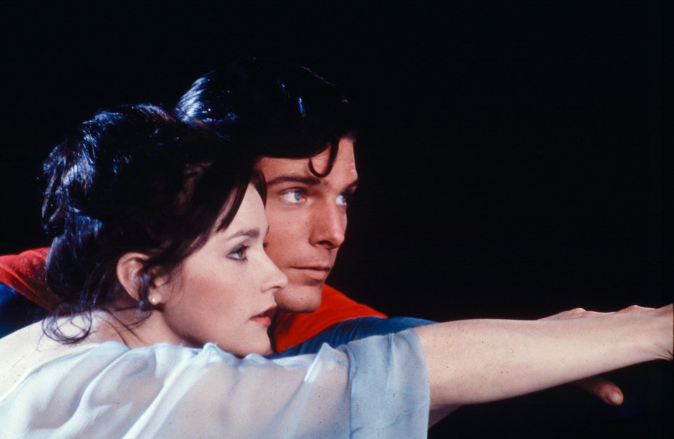 Photo -  Actor Christopher Reeve, as Superman, and Margot Kidder, as Lois Lane, appear in a scene from the 1978 movie