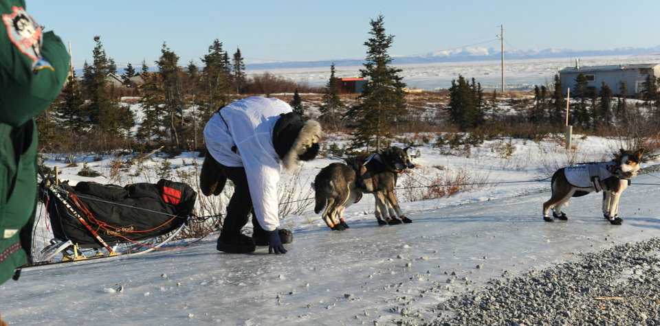 Photo - Iditarod musher Aliy Zirkle, from Two Rivers, Alaska, scoots across the icy road while leaving the Koyuk checkpoint during the 2014 Iditarod Trail Sled Dog Race on Sunday, March 9, 2014 in Koyuk, Alaska. (AP Photo/The Anchorage Daily News, Bob Hallinen)